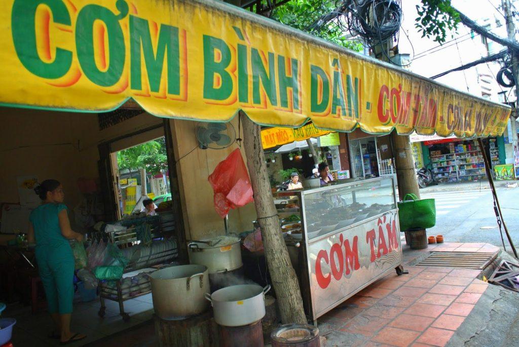 Look for a sign saying Com Binh Dan
