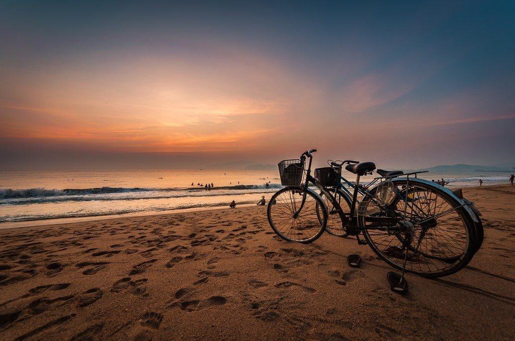 Beautiful Nha Trang beach in Vietnam at night for honeymoon